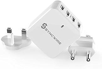 Syncwire Cargador de Pared USB Multiple Portátil con Plug - 6.8A/34W EU Universal, Serie de Garantía de por ida, para iPhones,iPads,iPods,Telefonos,Tablets,Banco de Potencia,etc - Blanco,con 4 Puertos