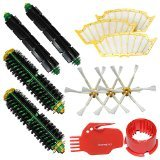 I-clean Brush Cleaning Tools & 2 Bristle Brushes & 2 Flexible Beater Brushes & 3 Side Brushes 6-Armed & 3 Filters Pack Mega Kit for iRobot Roomba 500 Series Roomba 510, 530, 535, 540, 560, 570, 580, 610 Vacuum Cleaning Robots all Green, Red, Black cleaning head