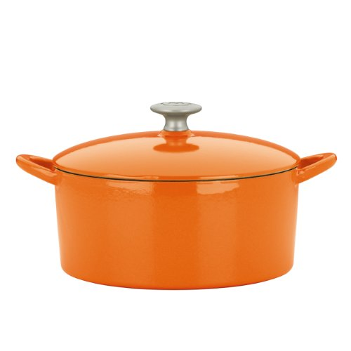 Mario Batali Enameled Cast Iron 4-Quart Round Dutch Oven By Dansk, Persimmon