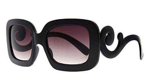 7f34e90ac63 MLC EYEWEAR ® Designer Inspired Oversized High Fashion Square Sunglasses w   Baroque Swirl Arms Black