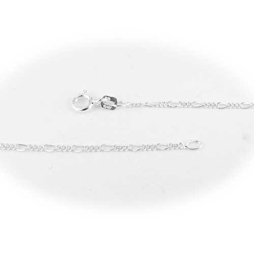 Sterling Silver Figaro Nickel Free Chain Necklace for Child Italy 14 inch