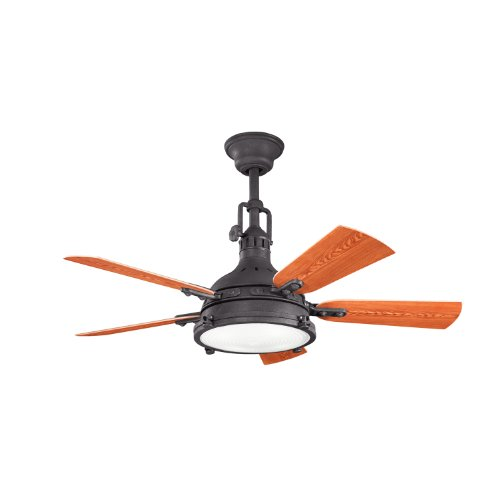 Kichler Lighting 310101Dbk Hatteras Bay 44-Inch Damp Rated Ceiling Fan, Distressed Black Finish With Fresnel Glass Light Kit And Reversible Abs Blades front-889955