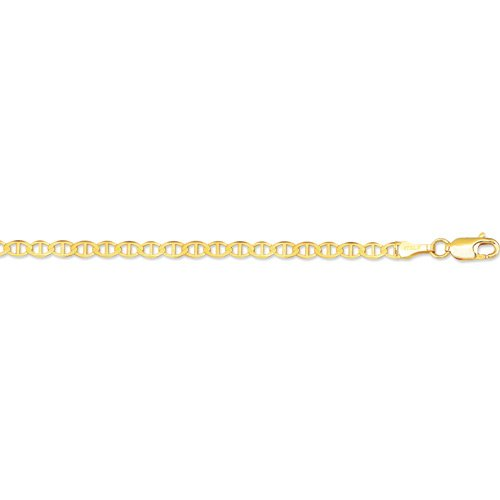 10K 18 Inch Long Yellow Gold 3.20Mm Wide Diamond Cut Mariner Link Chain With Lobster Clasp Fj-080M-18