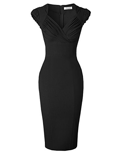 Newdow Lady's 50s Vintage V-neck Capsleeve Pencil Dress (Small, Black)