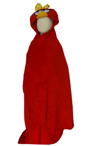 Red Angry Female Bird Hooded Character Snugglie Blanket Robe For Girls (One Size) front-660221