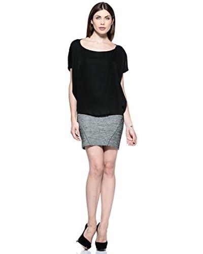 Annarita N Vestido Corta Gris / Negro