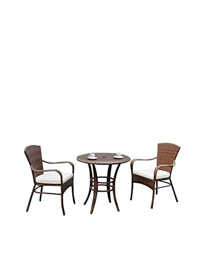 Panama Jack 3-Piece Key Biscayne Bistro Set With Cushions, Antique Brown
