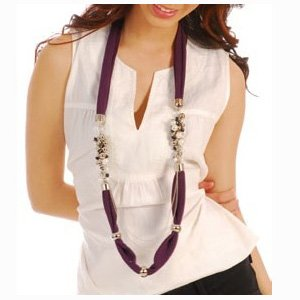 Pearlescent Bead Jewelry Scarf Long Necklace