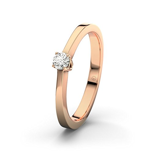 21DIAMONDS Women's Ring San Jose SI2 0.1 ct Brilliant Cut Diamond Engagement Ring 14ct Rose Gold Engagement Ring