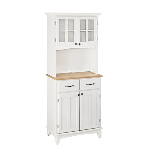 Home Styles Furniture White Wood Buffet with Natural Wood Top and 2-Door Panel Hutch