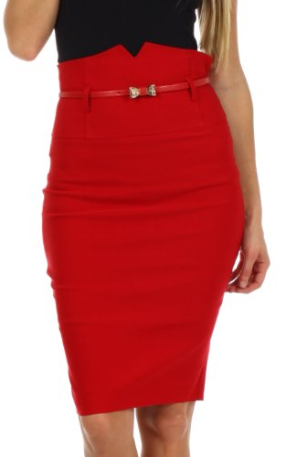Sakkas 3741 High Waist Stretch Pencil Skirt with Metallic Bow Skinny Belt - Red - Large (Red Pencil Skirt compare prices)