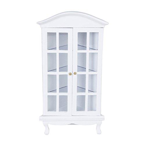 PIXNOR Coin en bois Carbinet 01:12 Dollhouse Miniature mobilier affichage plateau avec porte (blanc)