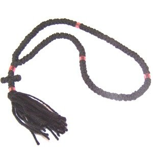 Chotki Rosary - black wool with beads (100 Knots) - top quality