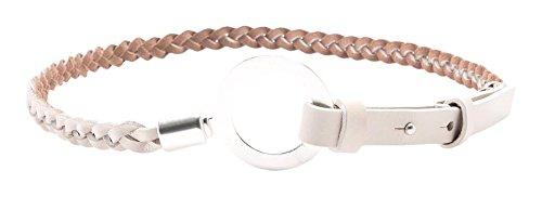 ESPRIT - aus hochwertigem Leder, Cintura Donna, Bianco (WHITE 100), Large (Taglia Produttore: Large)