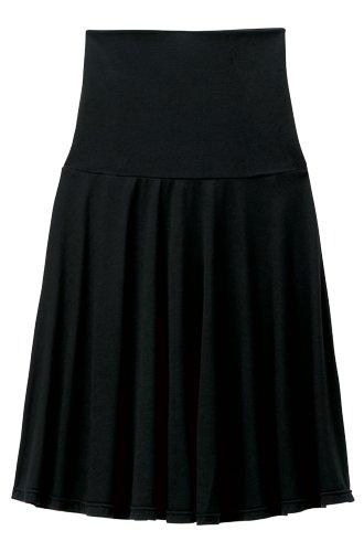 Angeliebe エンジェリーベ 産前 産後 対応 フィット フレア ミドル 丈 スカート M ~ L ブラック