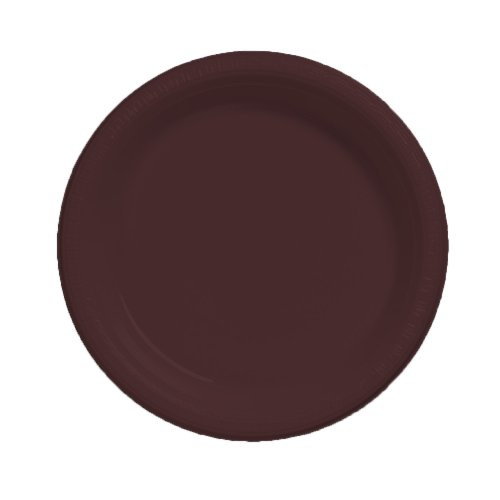 Creative Converting Touch of Color 20 Count Plastic Banquet Plates, Chocolate Brown - 1