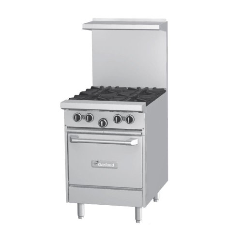 "Natural Gas Garland G24-2G12S 2 Burner Gas Range with 12"" Griddle and Storage Base"