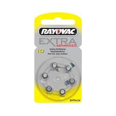 RAY10 appareils auditifs batterie rayovac extra advanced lot de 6