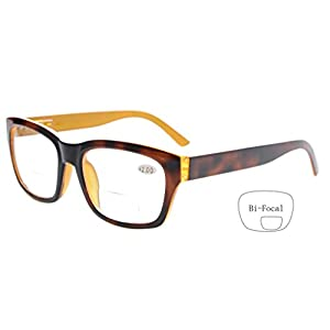 Eyekepper Polycarbonate Large Lens Nearly Invisible Line Bifocal Glasses Readers Men Brown +2.0