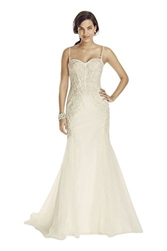 Lace Spaghetti Strap Trumpet Wedding Dress with Corset Bodice Style SWG690,...