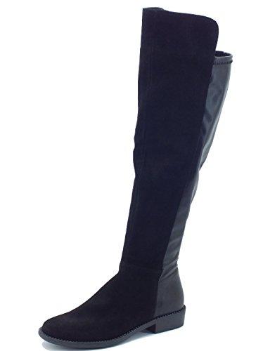 Stivali taglio ginocchio Mercante di Fiori in camoscio ed ecopelle nera (Taglia 36)