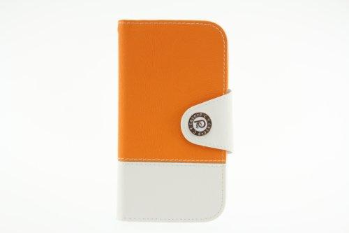 JAPAEMO Galaxy S4 (SC-04E) バイカラーデザイン フリップ型 カードケース ストラップホール 付き 全7色ドコモ ギャラクシーS4 ケース オレンジ [JE00998]