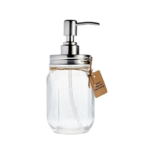Mason Jar Soap / Liquid Dispenser By Smiths, - Decorative Glass Soap & Liquid Dispenser w Durable Material Pump, Brushed Metal Finish spout and Lid, Kitchen & Bathroom Accessories (Liquid Bathroom Soap Dispenser compare prices)
