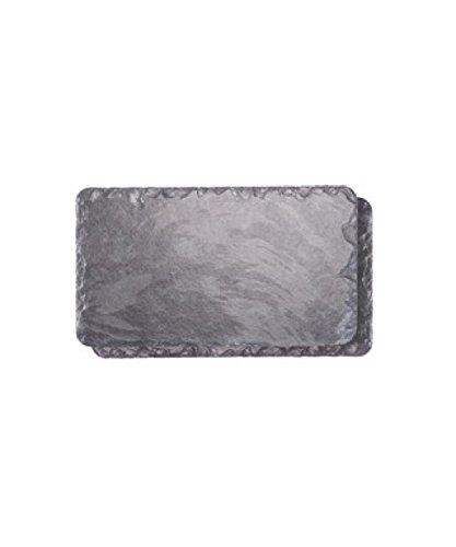 Platos individuales Slate 30 x 17 cm mantel individual Rectangular/plato/tabla de cortar queso, juego de 2, negro