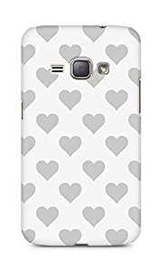 Amez designer printed 3d premium high quality back case cover for Samsung Galaxy J1 (2016 EDITION) (grey hearts)