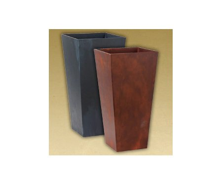 """Garden Accents: 12"""" Ella Tall Planters (2 Pieces) - Ella Hard Resin Planters, With Their Squared Contour, Bring A Modish New Twist To The Artstone Line. By Providing A Bit Of An Edge, Ella Becomes Th"""