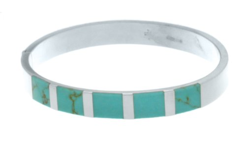 Sterling Silver Bangle with Turquoise Stones 8mm