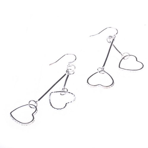 BestDealUSA Fashion 925 Silver Double Hearts Dangle Charm Earring Eardrop