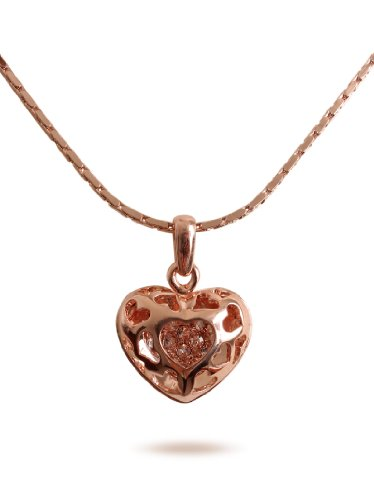 JousJous 18K Gold Plated Heart Locket Pendant Necklace