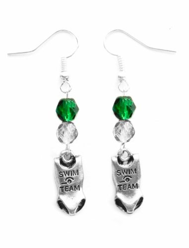 """""""Swim Suit"""" Swimming Earrings (Team Colors Forest Green & Silver)"""