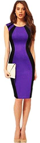 Eowsrzm Women'S 6 Color Sleeveless Panel Bandage Mini Night Club Pencil Dress
