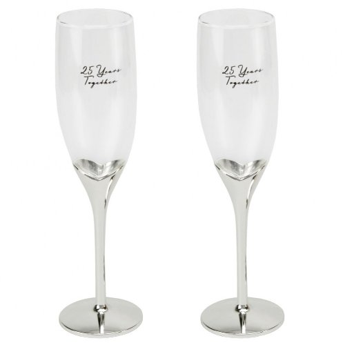 Amore 25th Wedding Anniversary Champagne Flutes