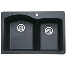 Blanco 511-607-5 Kitchen Sink 1-3/4 Double Bowl Composite Self Rimming Five Hole Anthracite