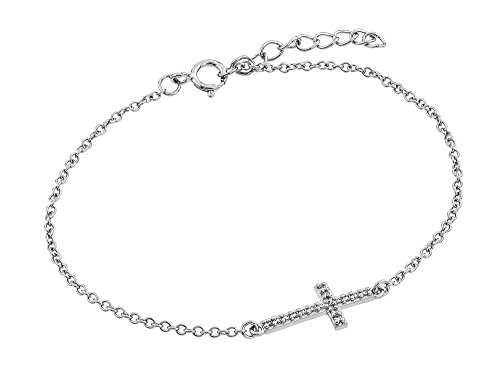 Sterling Silver CZ Cubic Zirconia Sideway Cross Bracelets For Children & Women 7 + 1 Extension