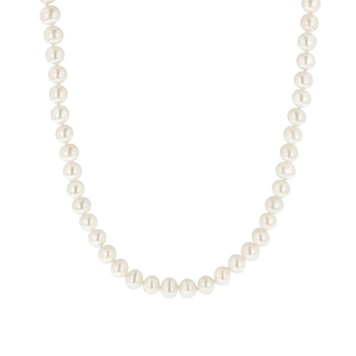 White Freshwater Cultured AA Quality Pearl Necklace with 14k Yellow Gold Clasp (6.5-7mm), 16