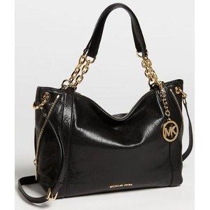 Michael Kors Stanthorpe Black Satchel Gold Chain Tote Handbag