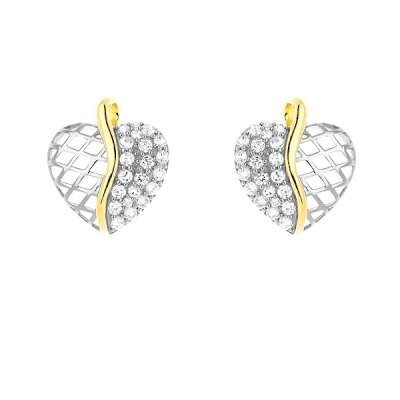 New Sterling Silver Heart Shaped Earrings with Gold Plated Center Line Half Clear CZ and Half