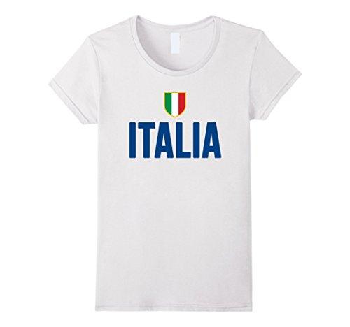 Women's ITALIA-n T-Shirt Italy Soccer Team Forza Azzurri Football Medium White (Italian Rugby compare prices)