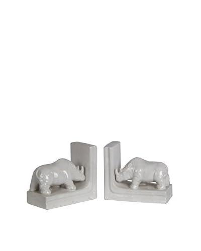 2-Piece Rhino Bookends, White