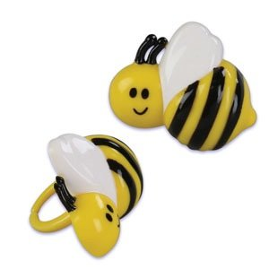 Bumble Bee Cupcake Rings - 24 pcs