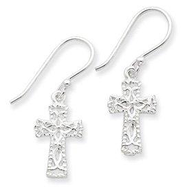 Sterling Silver Cross Textured Earrings with Shepherd Hook