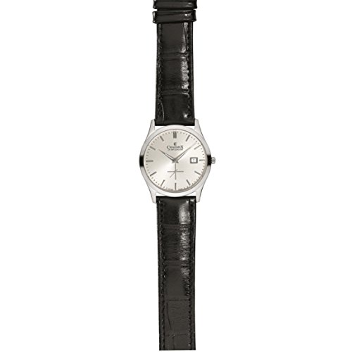 Charmex Ascot 2490 40mm Stainless Steel Case Black Calfskin Synthetic Sapphire Men's Watch