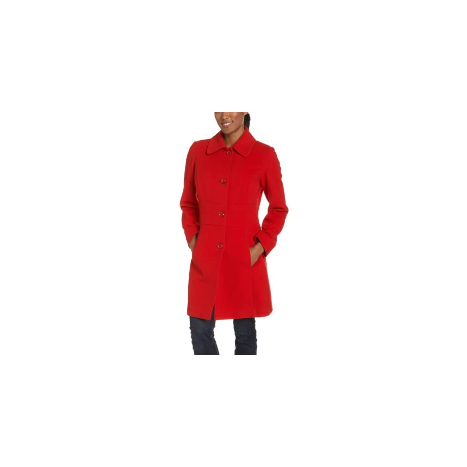AK Anne Klein Womens Single Breasted Walker Coat, Dark Red, Small