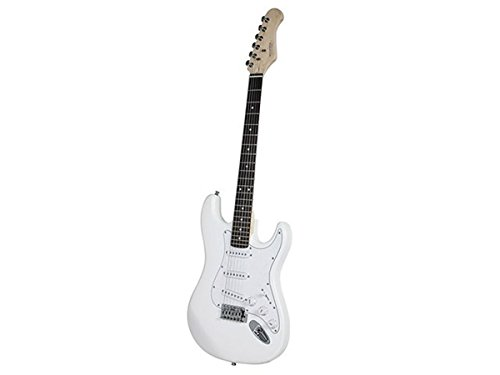 Monoprice 610101 California Classic Solid Body Electric Guitar, White