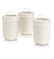 Retro Enamel Tea, Coffee & Sugar Jar Set