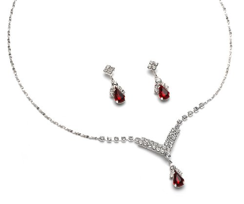 Red Rhinestone Drop Necklace & Earring Set 1223 R